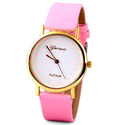 Outfits Geneva Luxury Quartz Watch with Diamonds and Small Dots Analog Indicate Leather Watch Band for Women