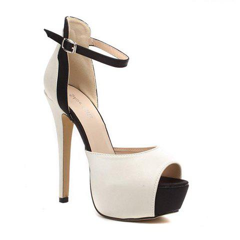 Outfit Gorgeous Satin and Color Block Design Women's Sandals - 41 NUDE Mobile