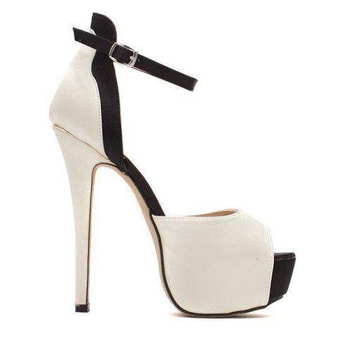 Chic Gorgeous Satin and Color Block Design Women's Sandals - 41 NUDE Mobile