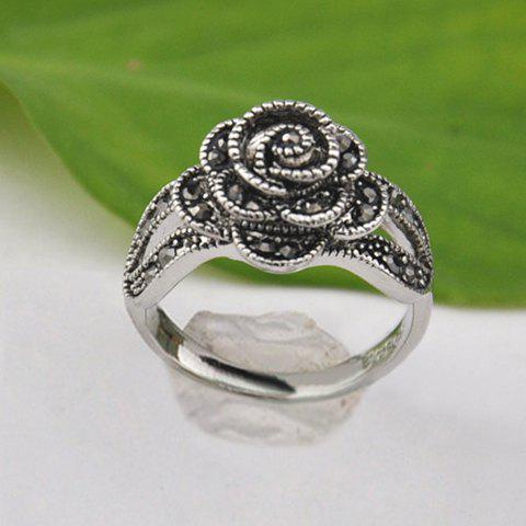 Hot Silver Plated Rhinestone Decorated Flower Ring - ONE SIZE SILVER Mobile