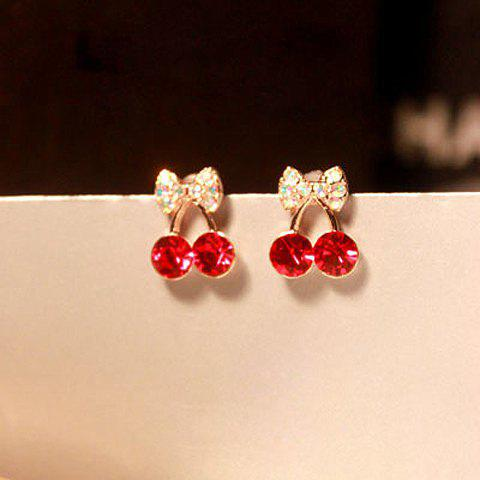 Outfits Pair of Rhinestone Cherry Stud Earrings