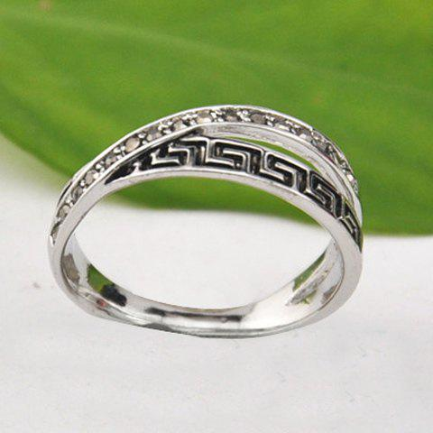 Chic Rhinestone Fret Pattern Ring - ONE SIZE SILVER Mobile