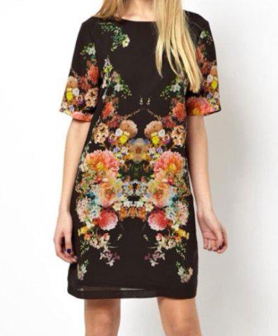 New Chic Style Round Collar Floral Print Short Sleeves Chiffon Women's Dress