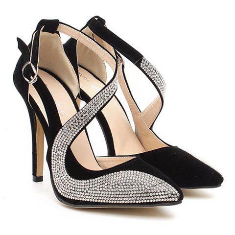 Cheap Stylish Rhinestones and Openwork Design Women's Pumps BLACK 38