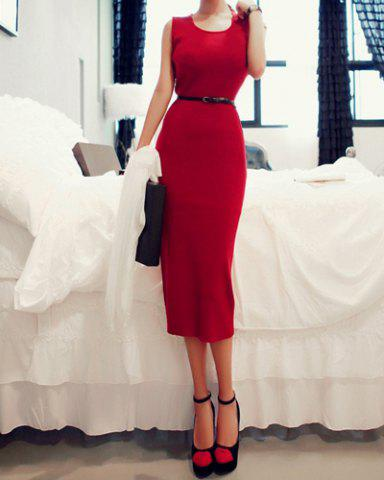 Discount Scoop Neck Sleeveless Long Knitted Jumper Dress - S RED Mobile