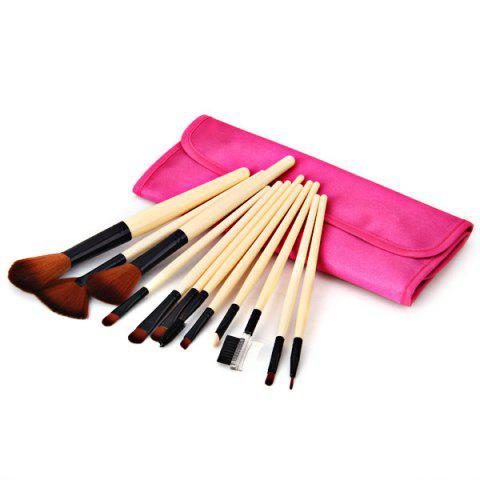 Cheap 12PCS High-end Brush Sets Soft Cosmetic Face Powder Make-up Brush with Red Cloth Bag
