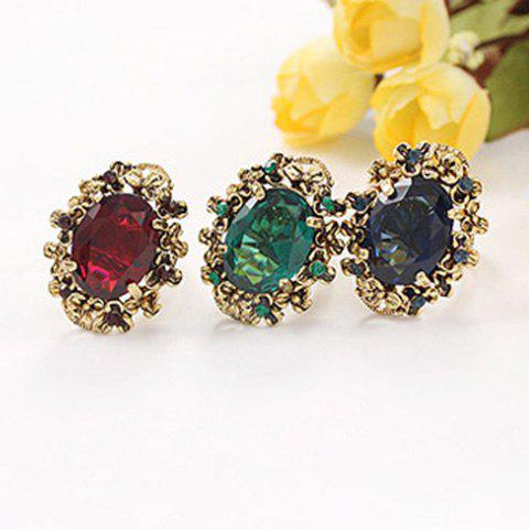 Oval Fake Crystal Finger Ring - COLOR ASSORTED ONE SIZE