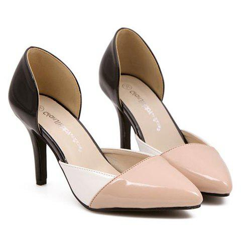 Chic Fashionable Pointed Toe and Color Block Design Women's Pumps