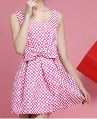 Buy Sweet Plaid Printed U Neck Sleeveless Bow Embllished Women's Dress