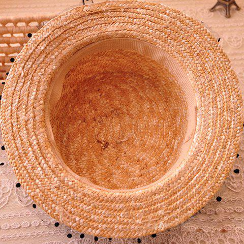 New Bowknot Decorated Polka Dot 1920s Straw Hat - FLAXEN  Mobile
