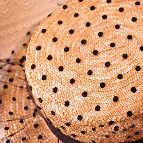 Trendy Bowknot Decorated Polka Dot 1920s Straw Hat - FLAXEN  Mobile