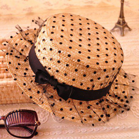 Bowknot Decorated Polka Dot 1920s Straw Hat - FLAXEN
