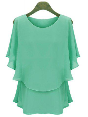 Discount Casual Scoop Neck Solid Color Batwing Sleeves Women's Chiffon Blouse