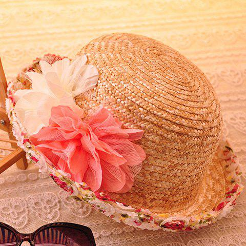 Outfits Charateristic Lace Flowers Beach Bowler Straw Hat - LIGHT CAMEL  Mobile