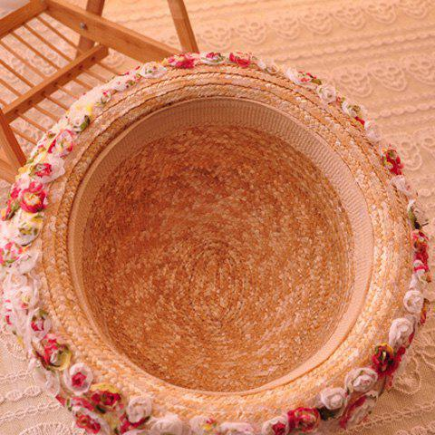 Fancy Charateristic Lace Flowers Beach Bowler Straw Hat - LIGHT CAMEL  Mobile