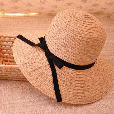 Affordable Sweet Black Bowknot Decorated Solid Color Sun Hat For Women