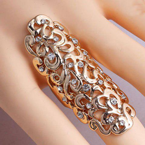 New Diamante Openwork Flower Pattern Mid Finger Ring