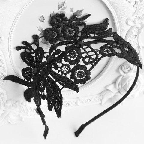 Trendy Retro Openwork Lace Flower Pattern Hairband For Women BLACK