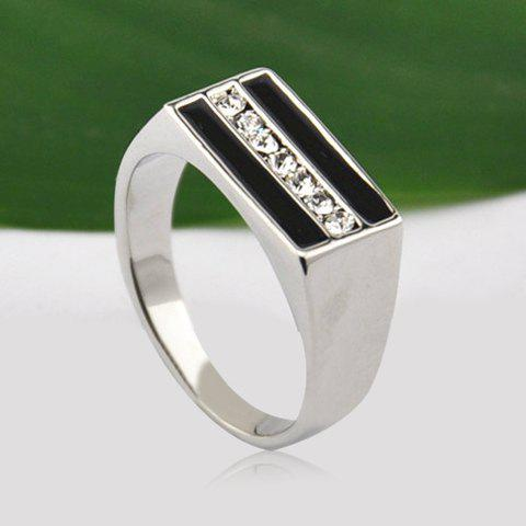 Shop Chic Rhinestone Inlaid Square Ring For Men - ONE SIZE AS THE PICTURE Mobile