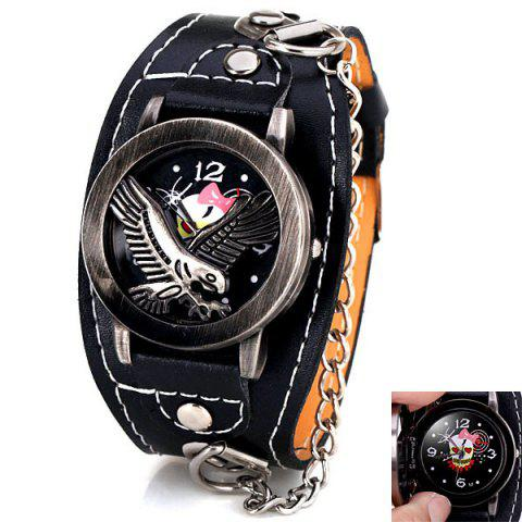 Fashion Flip Eagle Cover Quartz Wrist Watch with Analog Leather Watchband + Chain for Men - Black