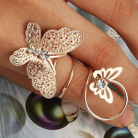 Diamante Double Butterfly Ring - GOLDEN ONE-SIZE