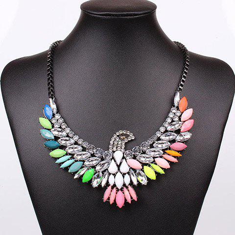 Outfits Exaggerated Chic Style Colorful Gem and Rhinestone Decorated Eagle Shape Necklace For Women AS THE PICTURE
