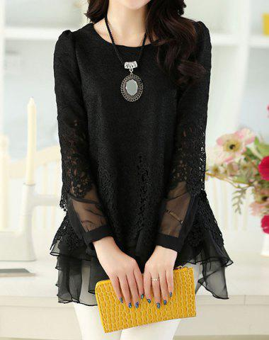 Latest Sweet Scoop Neck Lace Splicing Long Sleeve Women's T-Shirt BLACK M