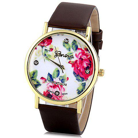 Latest Geneva Luxury Quartz Watch with Diamonds Golden Plate Analog Indicate Leather Watch Band Rose Pattern for Women