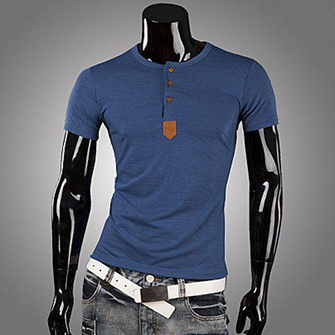 Sale Casual Style Round Neck PU Leather Splicing Buttons Embellished Short Sleeves Men's Polyester T-shirt BLUE XL