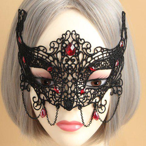Affordable Retro Faux Gemstone Decorated Openwork Lace Mask For Women