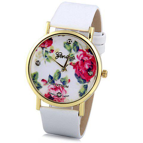 Buy Geneva Luxury Quartz Watch with Diamonds Golden Plate Analog Indicate Leather Watch Band Rose Pattern for Women WHITE