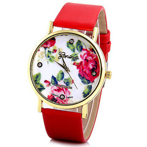 Online Geneva Luxury Quartz Watch with Diamonds Golden Plate Analog Indicate Leather Watch Band Rose Pattern for Women RED