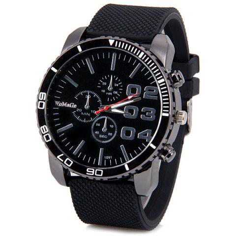 Unique Womage Luxury Quartz Wrist Watch with 8 Strips and 3 Arabic Numbers Indicate Rubber Watchband for Men