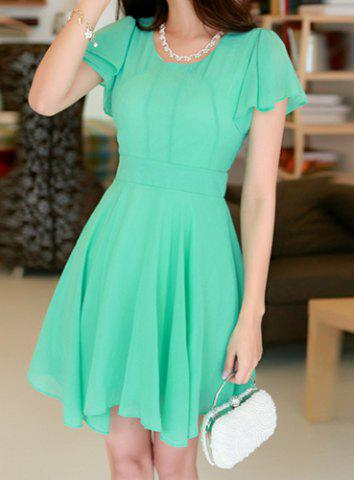 Discount Stylish Scoop Neck Solid Color Short Sleeve Chiffon Dress For Women