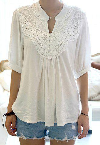 Cheap Half Sleeve Lace Splicing Blouse WHITE ONE SIZE