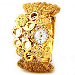 Luxury Quartz Watch with Diamonds and Loops Design Round Dial Steel Mesh Strap for Women -