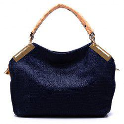 Vintage Style Solid Color and Crocodile Veins Design Women's Tote Bag -