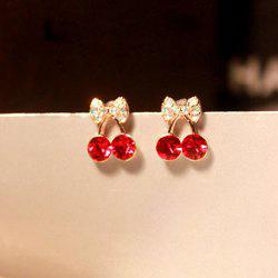 Pair of Rhinestone Cherry Stud Earrings -
