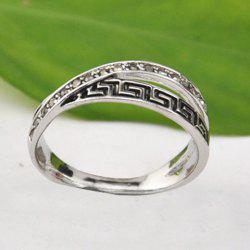 Rhinestone Fret Pattern Ring