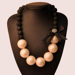 Vintage Bowknot Faux Pearl Necklace -