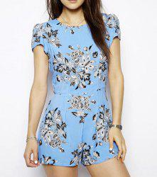 Pastoral Style Round Collar Floral Print Short Sleeves Women's Jumpsuits -