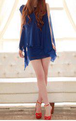 Graceful Sleeveless Solid Color Chiffon Women's Summer Dresses - BLUE