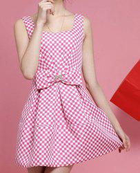 Sweet Plaid Printed U Neck Sleeveless Bow Embllished Women's Dress -