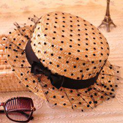 Bowknot Decorated Polka Dot 1920s Straw Hat
