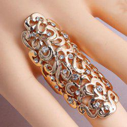 Diamante Openwork Flower Pattern Mid Finger Ring