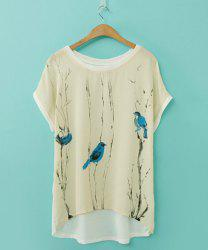 Elegant Scoop Neck Printed Loose-Fitting Short Sleeve Chiffon T-Shirt For Women - AS THE PICTURE