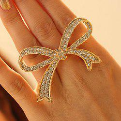 Rhinestoned Bowknot Shape Ring - GOLDEN