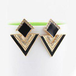 Pair of Alloy Rhinestone Triangle Earrings