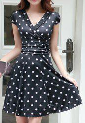 Sexy Career High Waist Short Sleeve Polka Dot Skater Dress