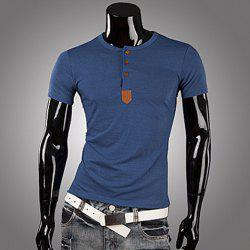 Casual Style Round Neck PU Leather Splicing Buttons Embellished Short Sleeves Men's Polyester T-shirt